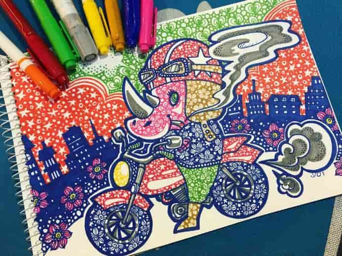 freelanceyui Yui N on Instagram Elephant on a motorcycle drawn with colorful selection of Art Markers