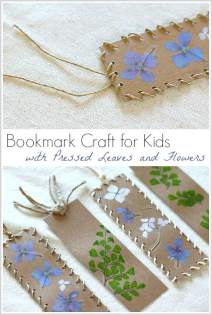Bookmark Craft for Kids Using Pressed Flowers and Leaves by Buggy and Buddy