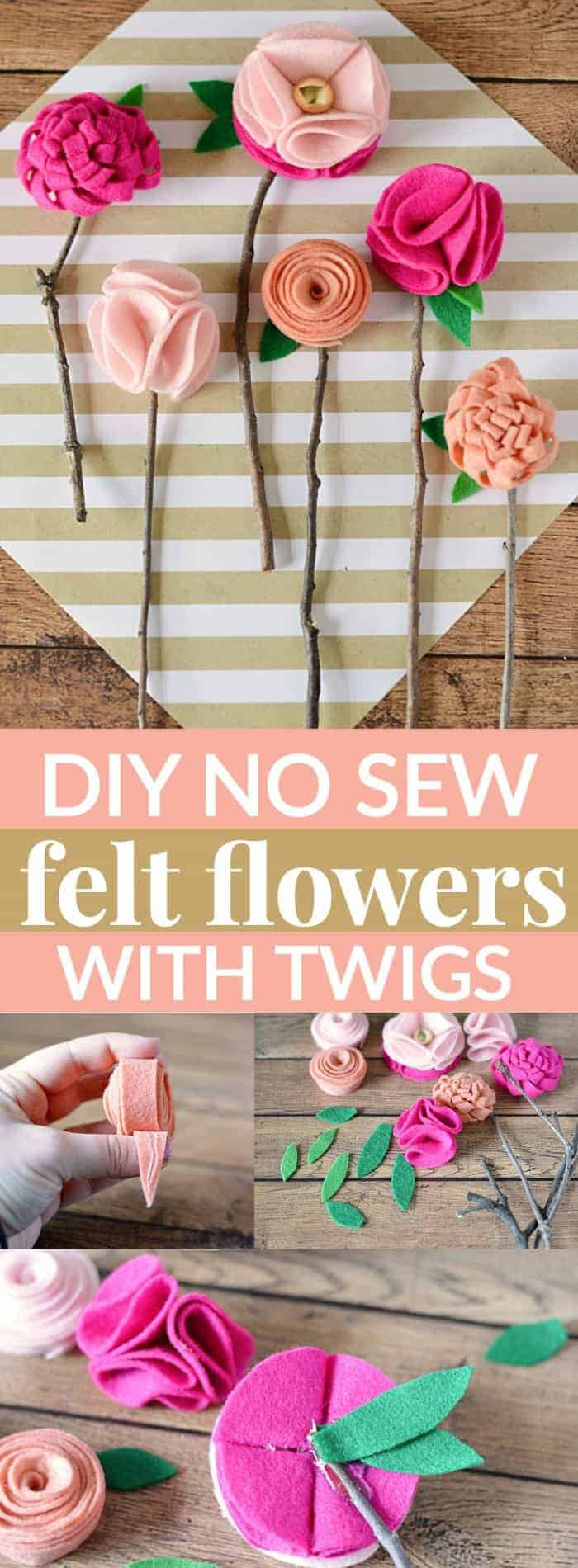 DIY No Sew Felt Flowers With Twigs by Mommy Moment