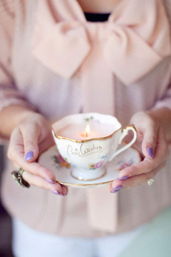 DIY Vintage Teacup Candles by Rhiannon Bosse