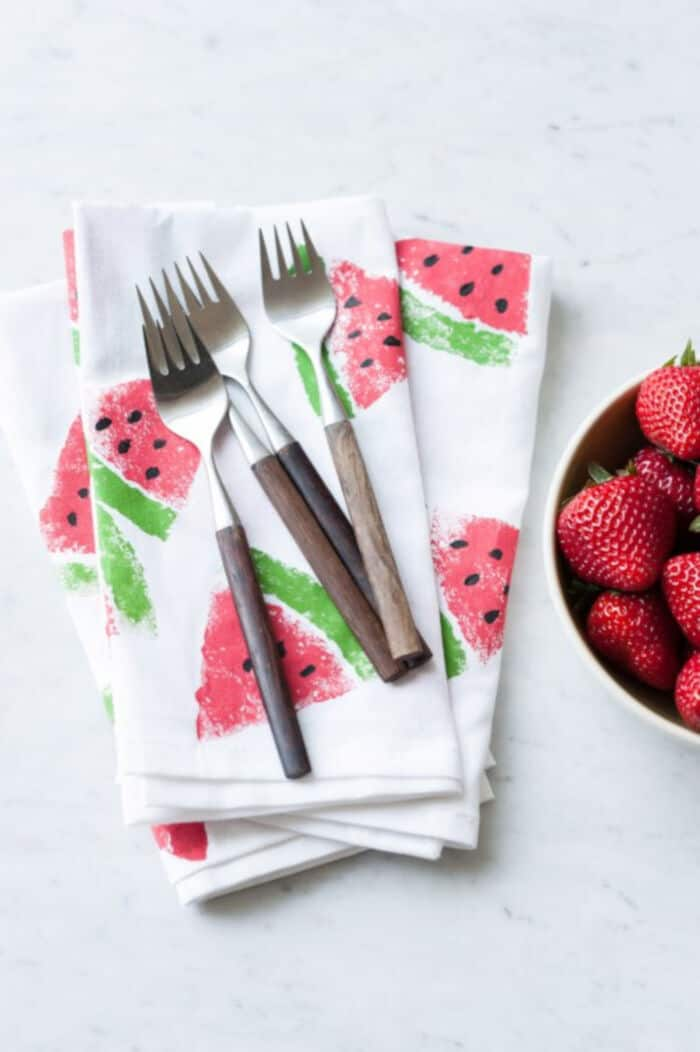 DIY Watermelon Print Napkins by The Sweetest Ocassion