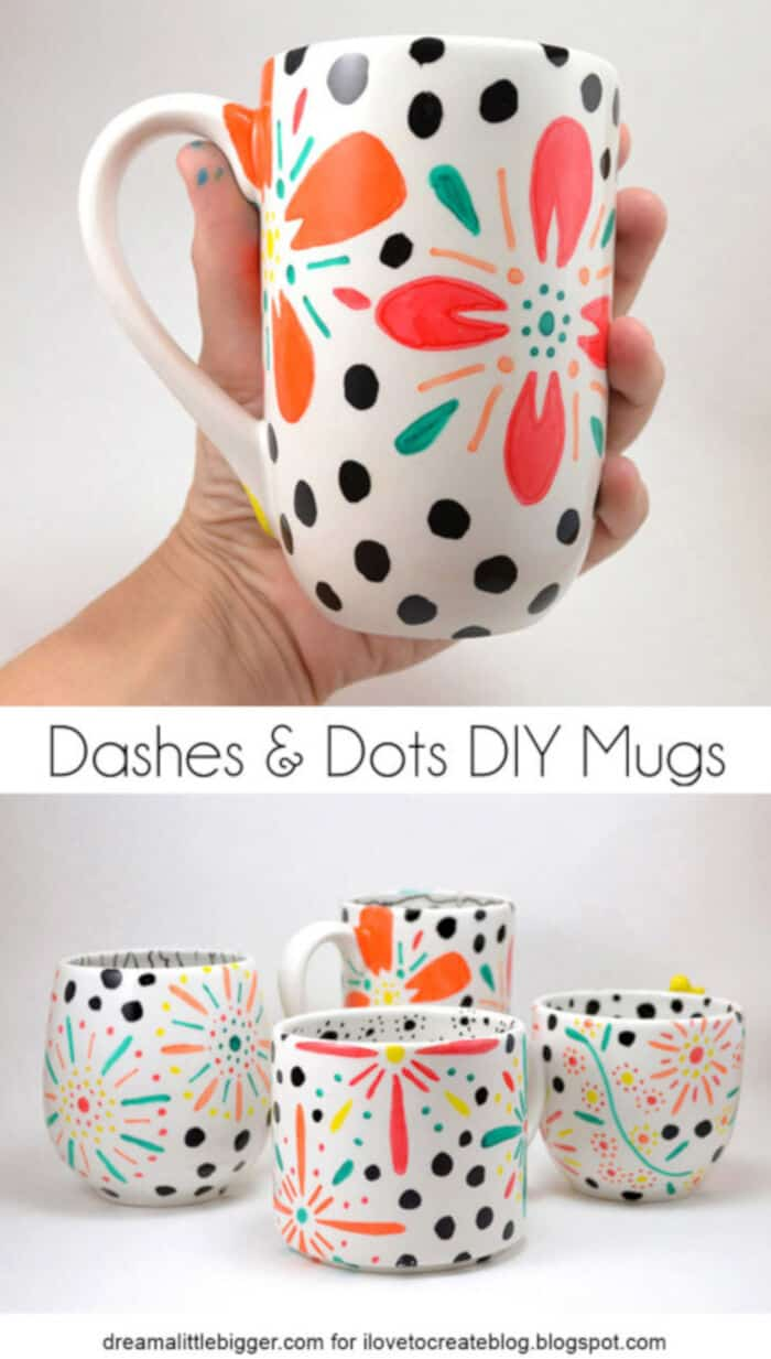 Dashes and Dots DIY Floral Mugs by I Love To Create