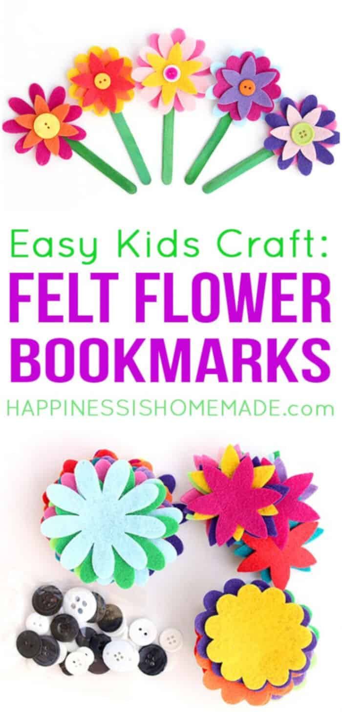 Felt Flower Bookmarks by Happiness Is Homemade