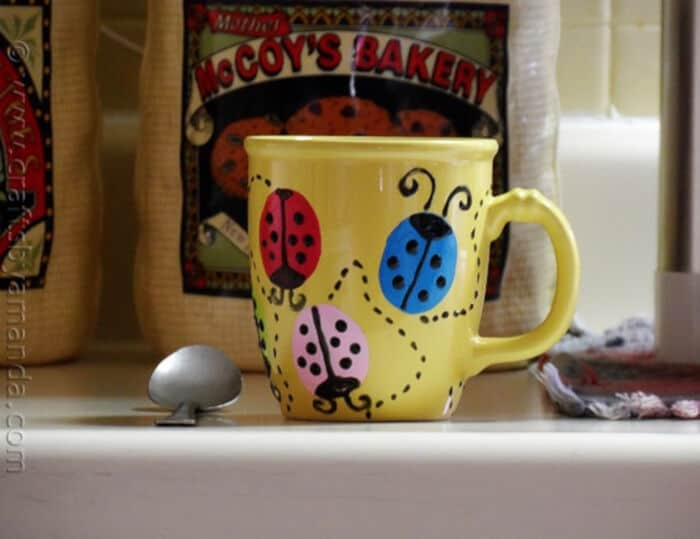 Ladybug Coffee Mug by Crafts by Amanda