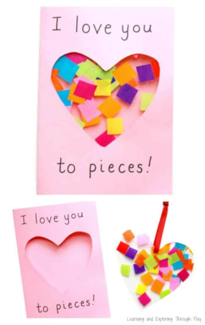 Love You To Pieces Suncatcher Card by Learning and Exploring Through Play