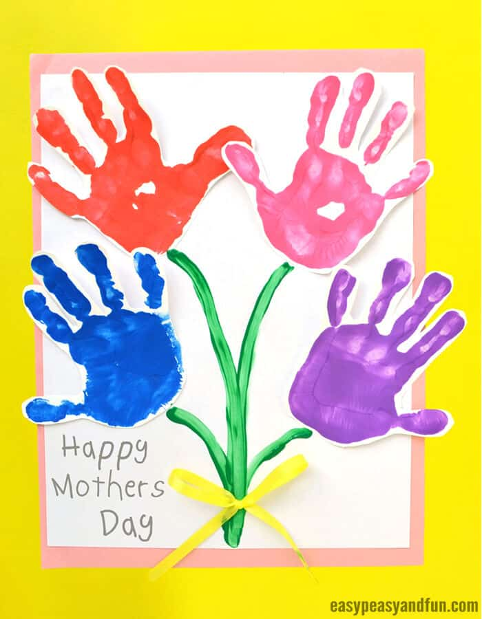 Mothers Day Handprint Art Flowers by Easy Peasy and Fun