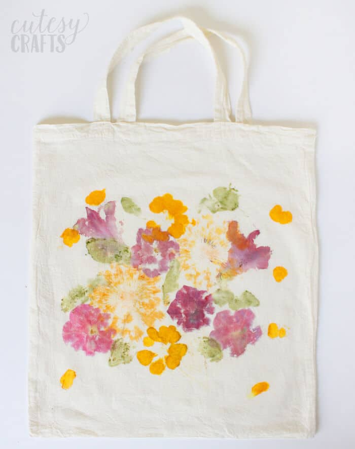 Pounded Flower Tote Bag by DIY Candy