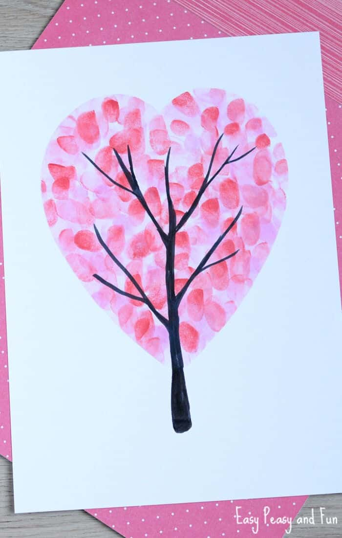Valentines Day Heart Fingerprint Tree Craft by Easy Peasy and Fun