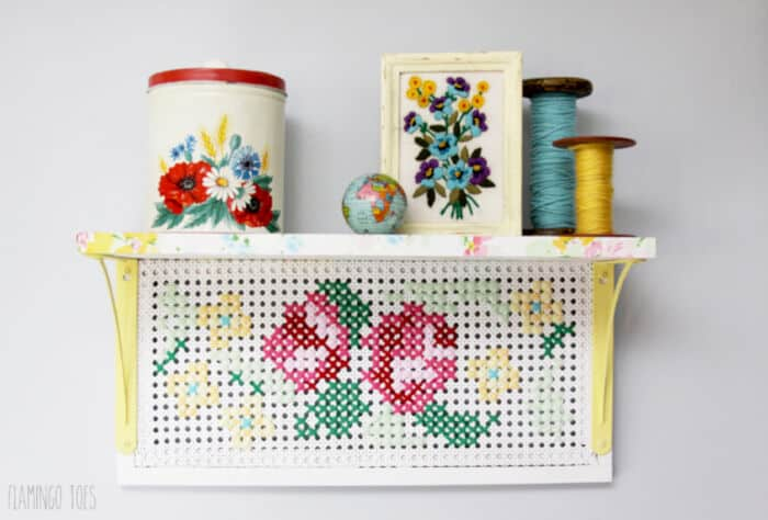 Vintage Style Cross Stitch Shelf by Flamingo Toes