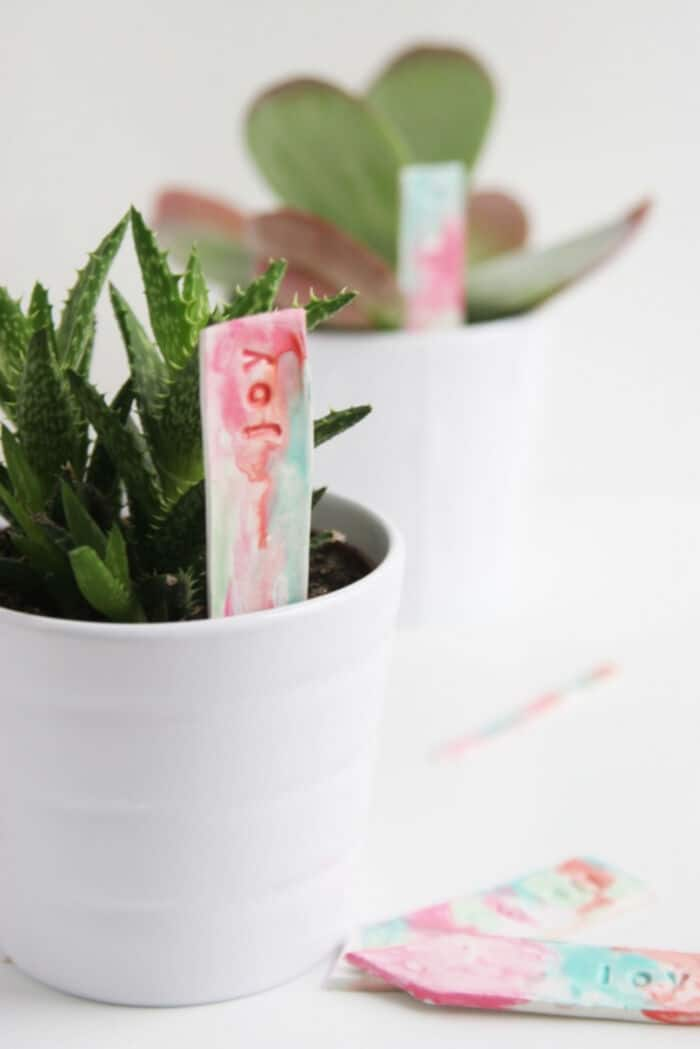 Watercolor Plant Markers by Homemade Ginger