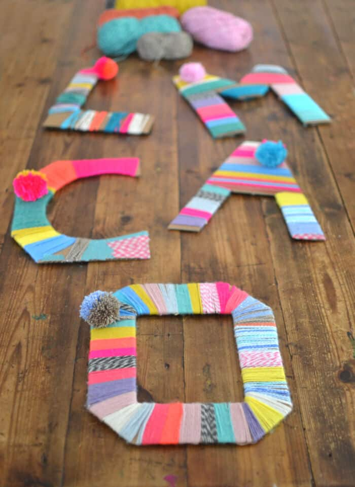 Yarn Wrapped Cardboard Letters by ARTBAR