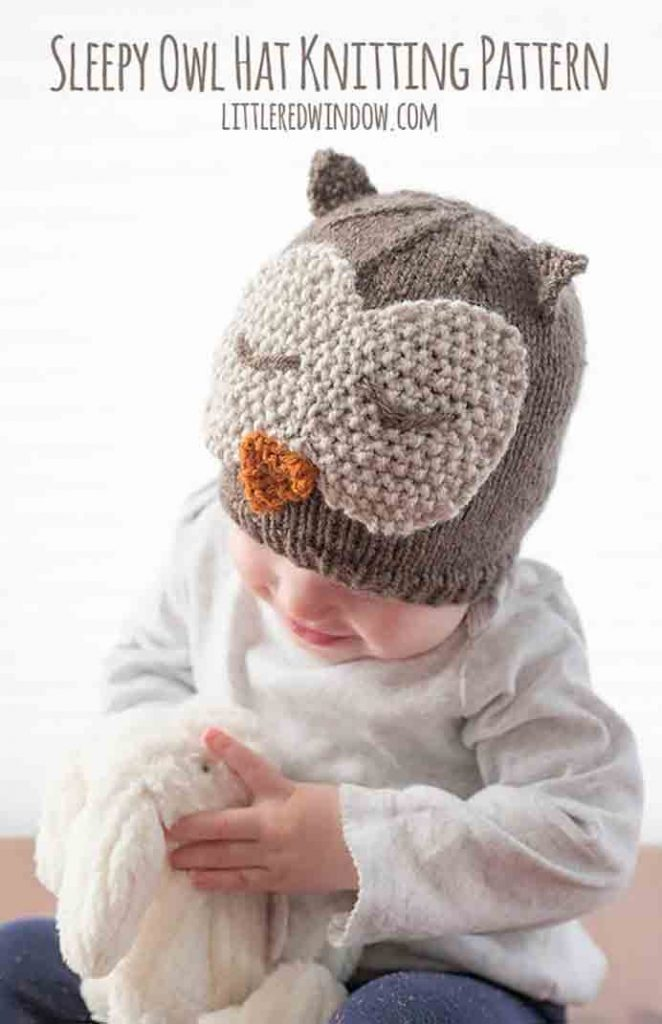 Knitted Baby Hat Pattern. Cassie from Little Red Window's knitted hats are wonderful. She offers a range of animal themed hats and this one caught my eye. Follow the free knitting pattern on her site or download an easy to read 2 page version from her Etsy Shop. Please share. You will always look forward to Mondays, with our craft inspiration roundups -CraftyLikeGranny.com #knitting #knittingpatterns #knit