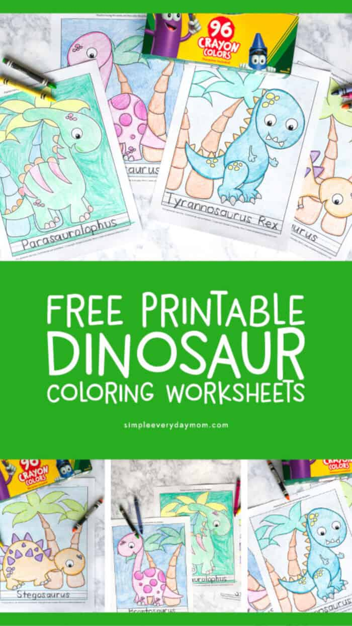 5 Free Printable Dinosaur Coloring Pages by Simple Everyday Mom