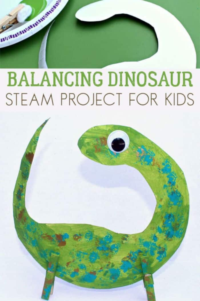 Balancing Dinosaur STEAM Activity by Rainy Day Mum