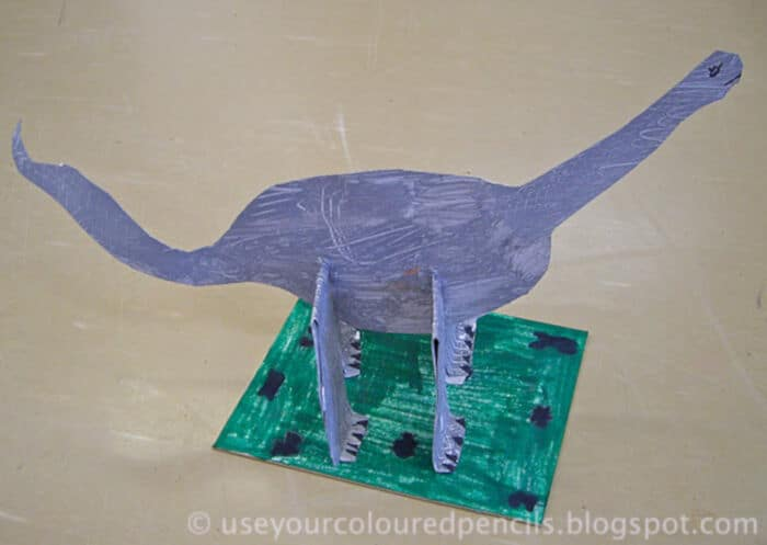 Cardboard Dinosaur Sculptures by Use Your Coloured Pencils