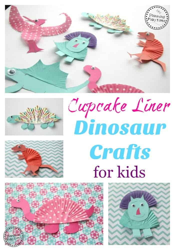 Cupcake Liner Dinosaur Crafts by Planning Playtime