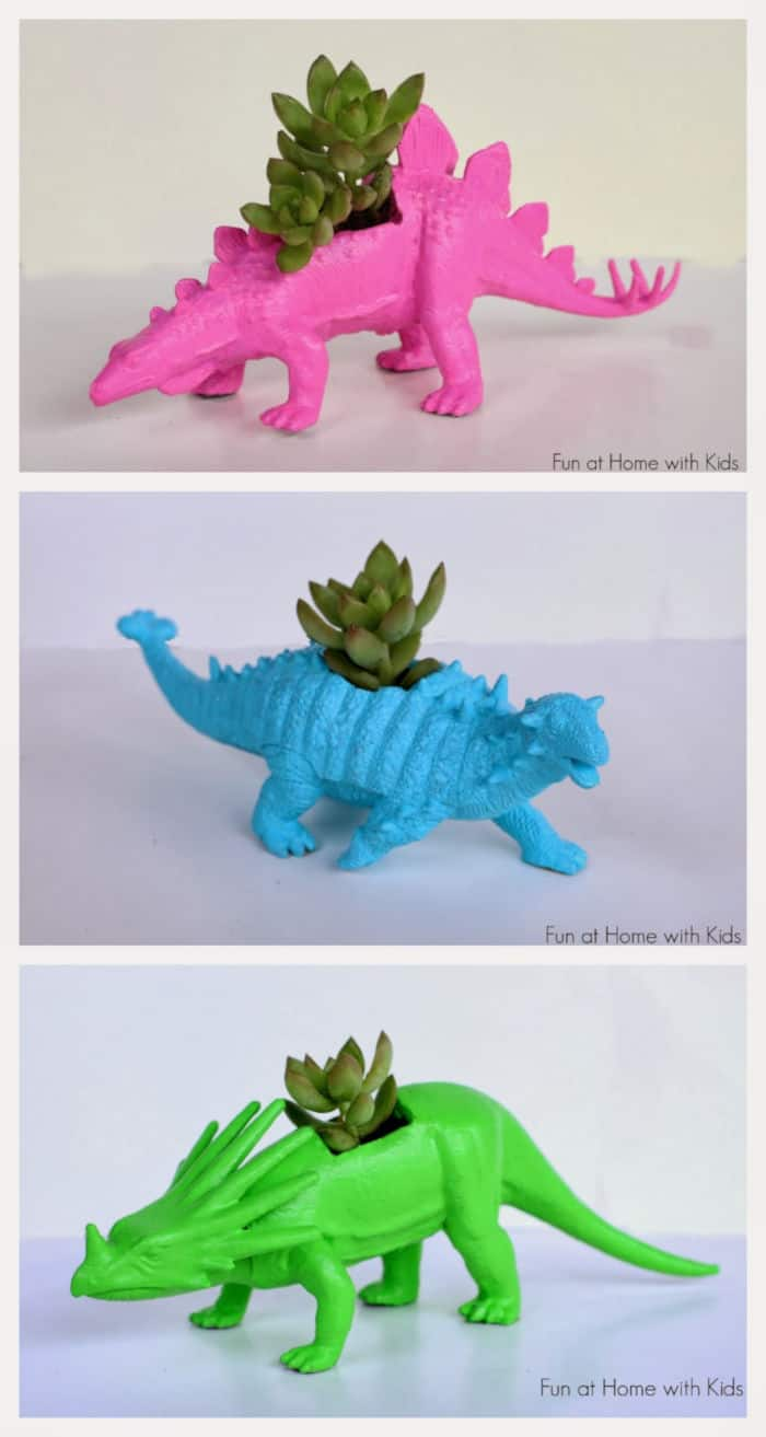 DIY Dinosaur Planters by Fun at Home with Kids