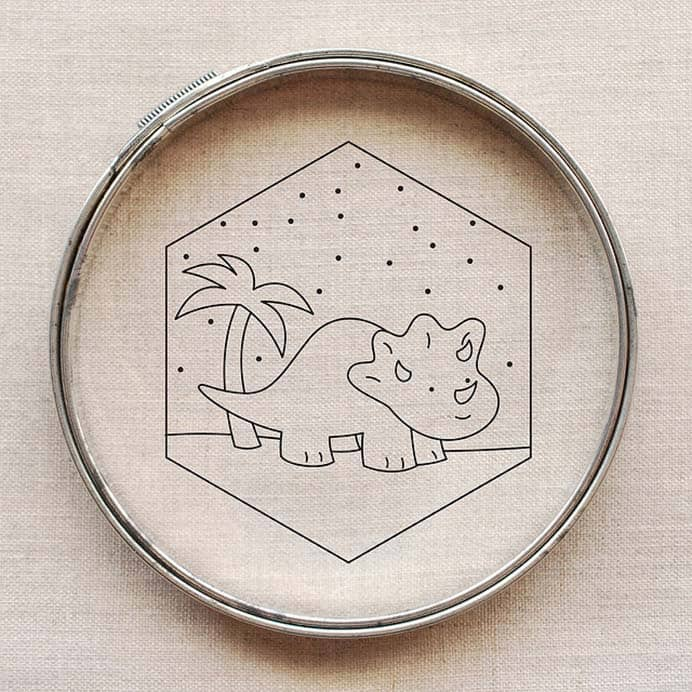 An Embroidery Pattern For A Nursery Or Kid's Room. A template for a demure dinosaur to embroider. It would make a lovely decoration in a bedroom or nursery. Download Mollie free template from her site Wild Olive. Please share and make Mondays fun, get our craft inspiration delivered to your inbox - CraftyLikeGranny.com #dinosaurcrafts #embroidery #sewing