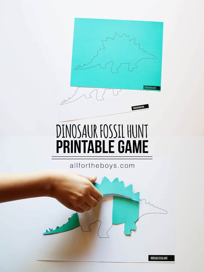 Dinosaur Fossil Hunt Printable Game by Everything I Do Is For The Boys