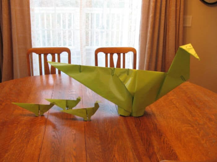 Dinosaur Sized Origami by Almost Unschoolers