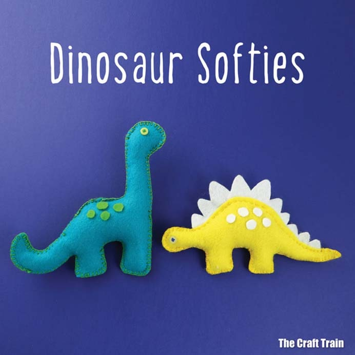Crafty Pets With A Difference. Douglas Diplodocus and Sunshine Stegosaurus could become your new pets! Follow Kate's sewing tutorial on how to create these dino softies. The downloadable pattern is available on the Craft Train. Please share. Make Mondays more manageable and sign up for our craft inspiration newsletter. Delivered to your inbox - CraftyLikeGranny.com #dinosaurcrafts #sewing #feltcraft