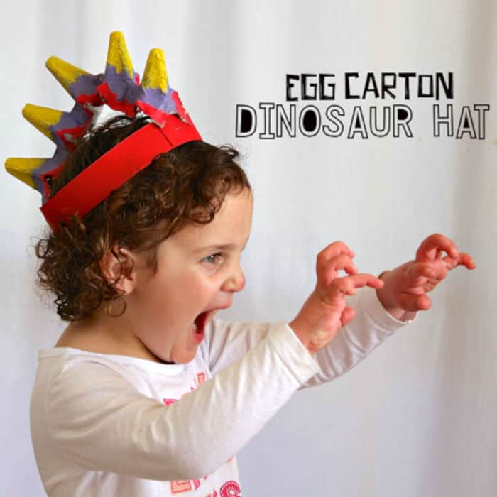 Egg Carton Dinosaur Hat Craft by Crafty Morning