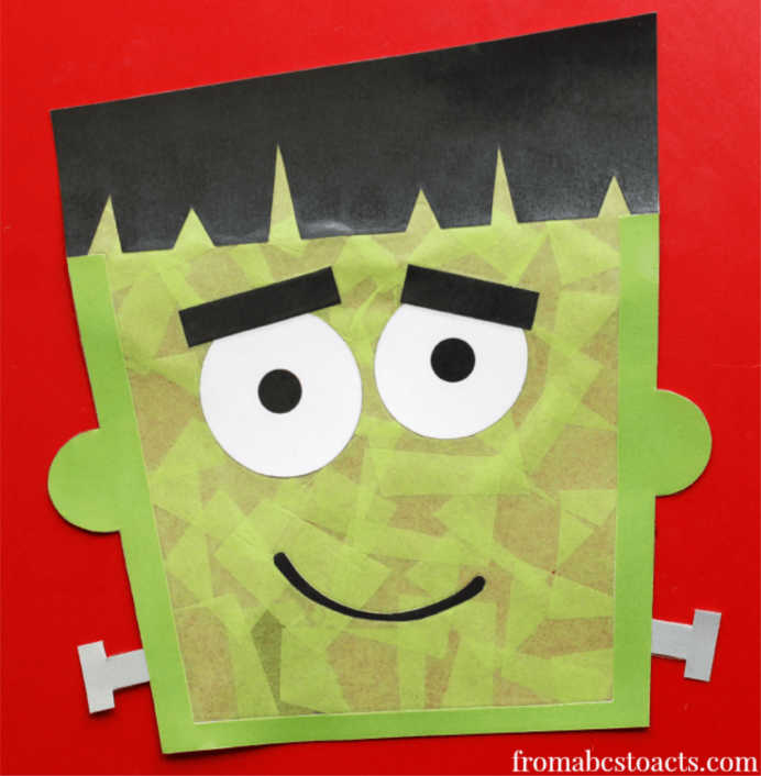 Monsters are definitely part of Halloween and kids will love making this Frankenstein Sun Catcher. Amber from Abcs to Acts has the printables ready to download and an easy tutorial to follow. Please share. Make Mondays more manageable and sign up for our craft inspiration newsletter. Delivered to your inbox - CraftyLikeGranny.com #halloweencraftforkids #halloweencrafts #kidscraft