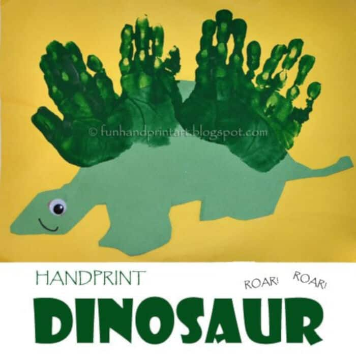 Handprint Dinosaur by Fun Handprint Art