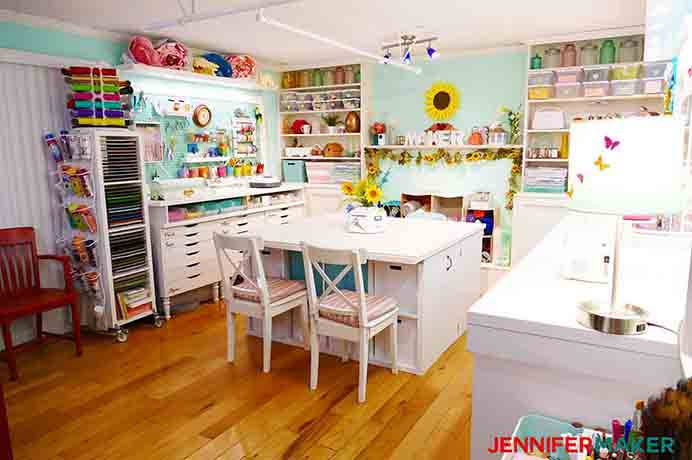 A Maker's Incredible Craft Room!. Is this space something you'd love? Jennifer from Jennifer Maker has spent an incredible amount of time and energy on designing her crafting space. In her post she shares her plans and the final reveal. The craft table that she originally worked at was too small and she wanted something bigger. Wow! She certainly got something bigger! Please share. Join now for creative craft inspiration. The best in craft delivered to your inbox every Monday - CraftyLikeGranny.com #crafttable #craftroom #DIY