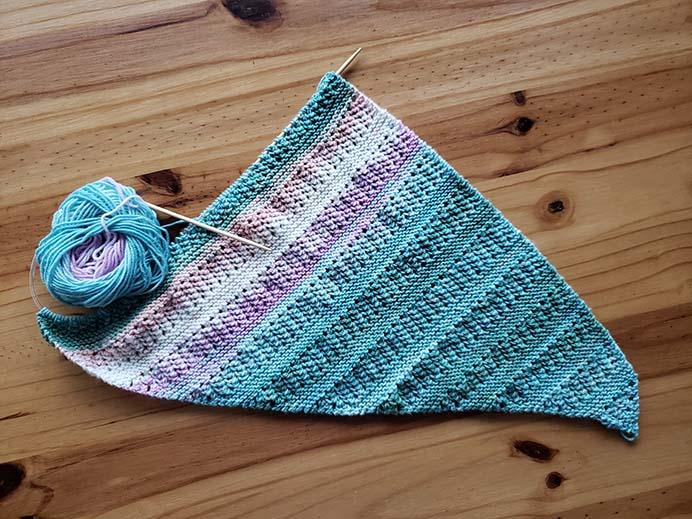 Jodie Knitting Ridged Shawl Progress