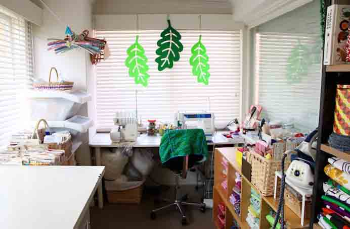 Craft Lifestyle Blogger's Craft Table Ideas. Cinta's sewing room has a sewing table and a trestle table for cutting out and craft projects. The great thing about the trestle table is that it has room to place items underneath. Please share. Make Mondays more manageable and sign up for our craft inspiration newsletter. Delivered to your inbox - CraftyLikeGranny.com #crafttable #craftroom #sewing