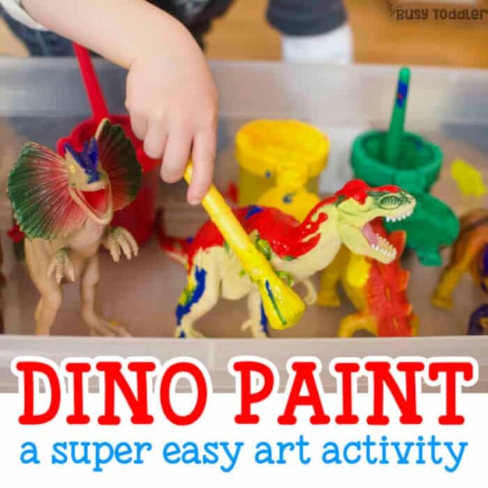 Painting Dinosaurs Process Art by Busy Toddler