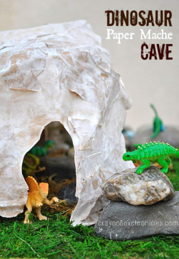 Paper Mache Dinosaur Cave by Crayon Box Chronicles