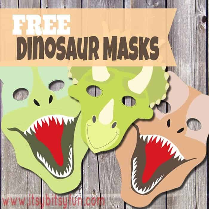 Printable Dinosaur Masks by Itsy Bitsy Fun