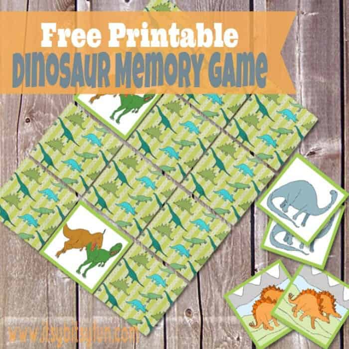 Printable Dinosaur Memory Game by Itsy Bitsy Fun