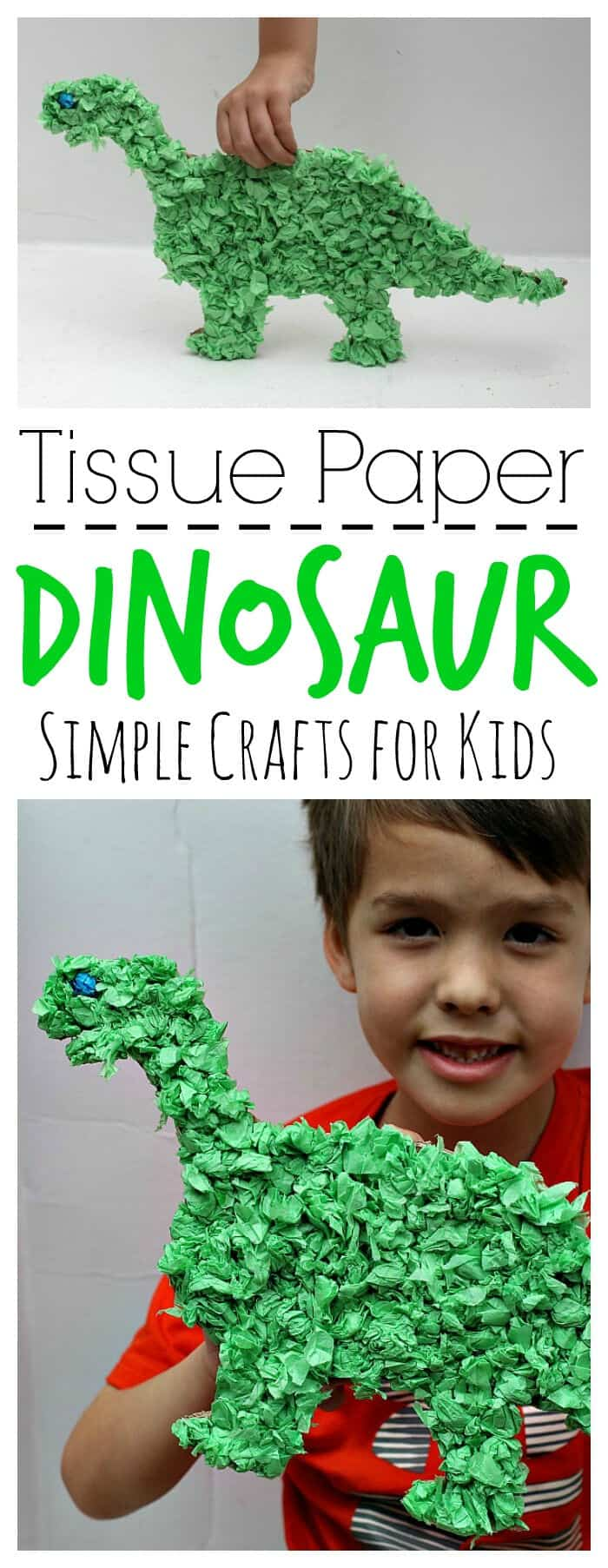 Tissue Paper Dinosaur Craft by Mom Unleashed