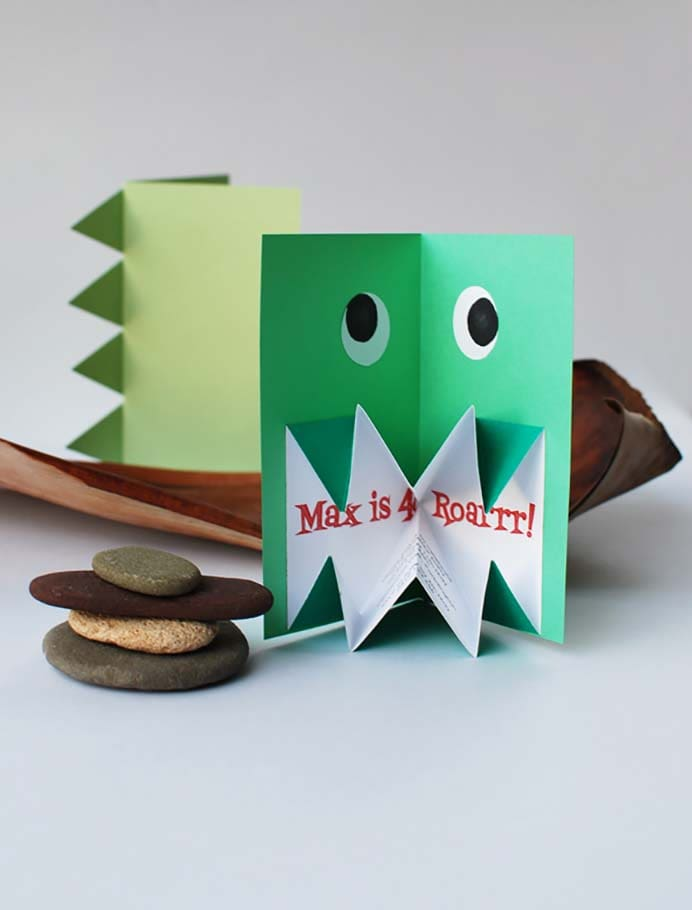 Origami Pop Up Invitations. These are a wonderful idea for a party invitation. Using origami techniques, make a pop up dinosaur invite. Follow Lisa Tilse's tutorial with step by step instructions and photos to guide you. Please share. Sign up to our craft inspiration roundup newsletter and make Mondays more manageable. Fabulous Crafty ideas and projects delivered to your inbox - CraftyLikeGranny.com #dinosaurcrafts #papercraft #DIY