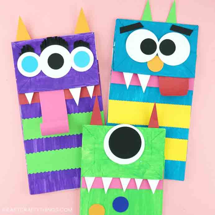 All sorts of fun to be had with these Monster puppets! Involve the kids in creating them and then ask them to come up with a script for a puppet show :) Rachel at I Heart Crafty Things shares her tutorial to make them. Please share. Look forward to Mondays with our craft inspiration newsletter. Crafty goodness delivered to your inbox - CraftyLikeGranny.com #halloweencraftforkids #halloweencrafts #kidscraft