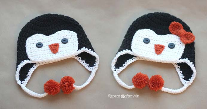 Adorable Crocheted Hat Pattern. Sarah from Repeat Crafter Me steps you through how to crochet a penguin hat. She shares tips to make sure it turns out well. The design is so adorable. Please share and make Mondays fun, get our craft inspiration delivered to your inbox - CraftyLikeGranny.com #penguins #crochetpattern #crochet