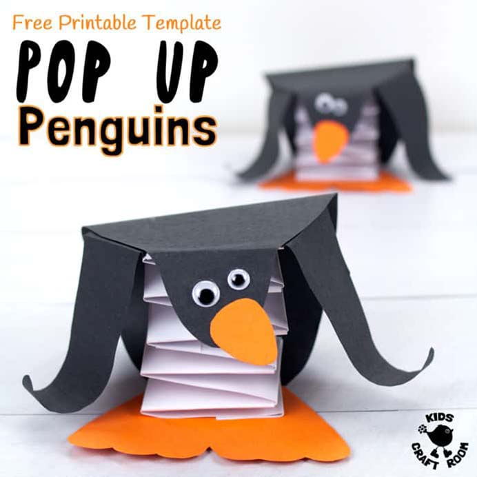 Fun Winter Craft For Kids. When it is cold outside and you need inspiration for indoor craft activities, Kids Craft Room has you covered. Try out this sweet Pop Up Penguin craft with the kids. I am sure they will love it. Please share. Sign up to our craft inspiration roundup newsletter and make Mondays more manageable. Fabulous Crafty ideas and projects delivered to your inbox - CraftyLikeGranny.com #penguins #kidscraft #papercraft