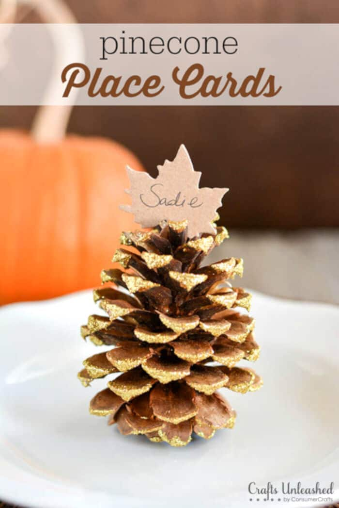 Thanksgiving Pinecone Place Card Settings by Crafts Unleashed