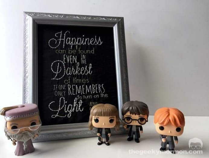 Embroidered Quote From Dumbledore. One of the more popular quotes from the Harry Potter movies, Happiness can be found even in the darkest of times, if only someone remembers to turn on the light. Erica's guest post on The Geeky Mormon has a Embroidery tutorial to follow. Please share. Make Mondays more manageable and sign up for our craft inspiration newsletter. Delivered to your inbox - CraftyLikeGranny.com #harrypottercrafts #embroidery #needlecraft