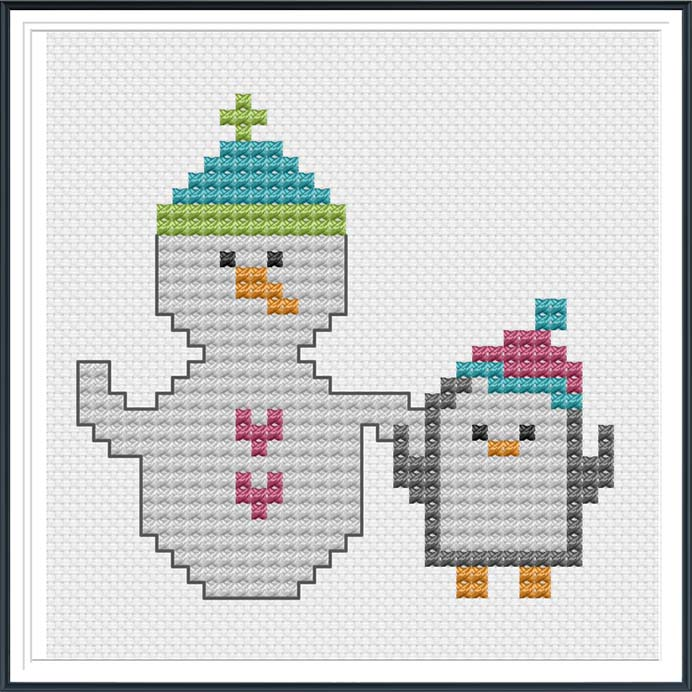 Winter Cross Stitch Pattern. Of course Snowpeople and Penguins would be friends! This cute winter cross stitch pattern by Cheryl from Tiny Modernist is free. It looks simple and easy to do. Please share. Look forward to Mondays with our craft inspiration newsletter. Crafty goodness delivered to your inbox - CraftyLikeGranny.com #penguins #crossstitch #crossstitchpatterns