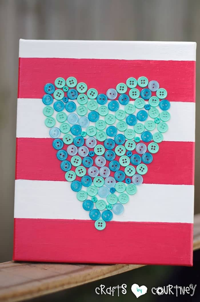 Button Heart Canvas. A simple craft project that would look great on a teen's bedroom wall. The look of the heart can be changed depending on what buttons are chosen. Courtney at Crafts by Courtney shows you how. Please share. The best in craft delivered to your inbox every Monday - CraftyLikeGranny.com #craftsforteens #teencrafts #diy #crafts