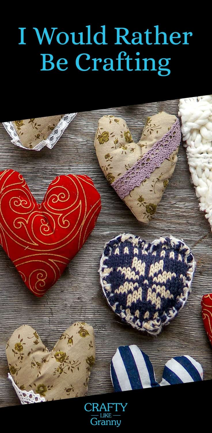 10 fabulous Valentine Day Crafts For Adults to make. Particularly beneficial for those of us who love to make and are looking for inspiration. Whether you knit, crochet, sew, or embroider. There's something to get your creative juices flowing. -- Repin this and click through to read about these 10 great craft projects. Make Mondays fun, get our craft inspiration delivered to your inbox - CraftyLikeGranny.com #valentinedaycraftsadults #knitting #crocheting #sewing #embroidery