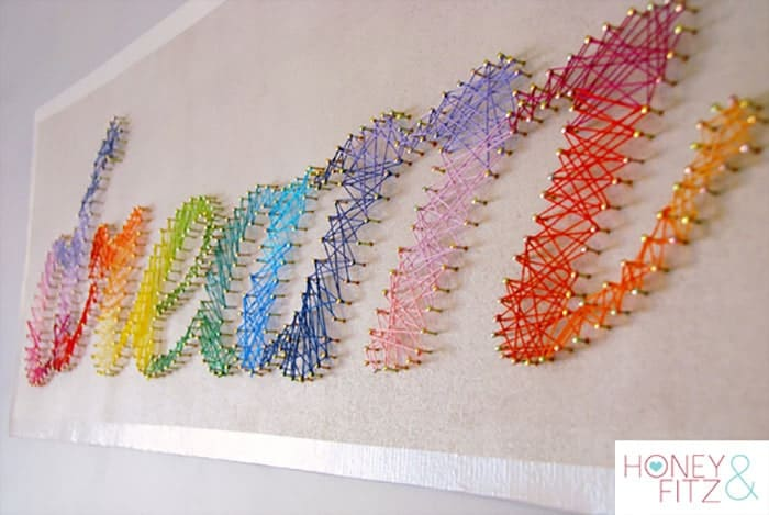 DIY String Art Tutorial. This would be an ambitious project but the result would be very satisfying. A teen could find an inspirational word that speaks to them and they would be happy having on their wall. Follow Dina's step by step instructions on Honey and Fitz. Please share. Join now for creative craft inspiration. The best in craft delivered to your inbox every Monday - CraftyLikeGranny.com #craftsforteens #teencrafts #diy #crafts