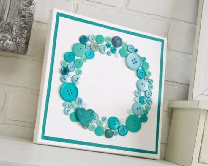 Aqua Button Canvas Wall by Mod Podge Rocks Blog