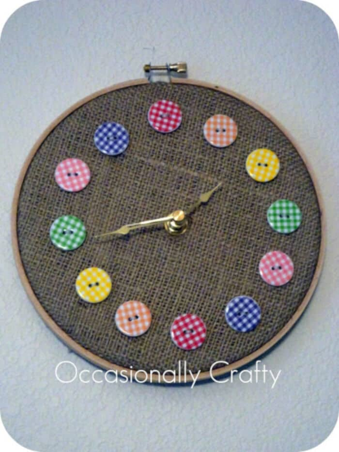 Button Clock by Occasionally Crafty