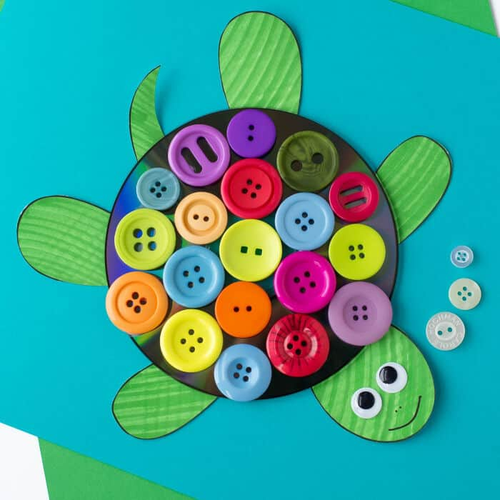 CD And Button Turtle Craft by Fireflies and Mud Pies