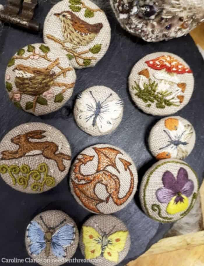 Embroidered Covered Buttons by Needle N Thread